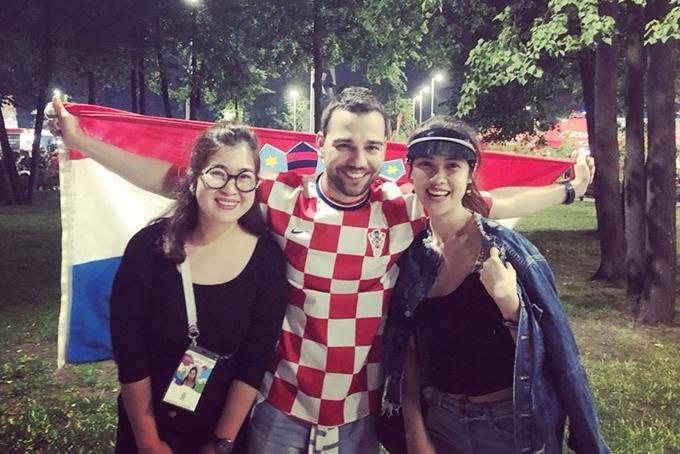 Thu Hang Thanh Tu sang Nga xem tran chung ket World Cup