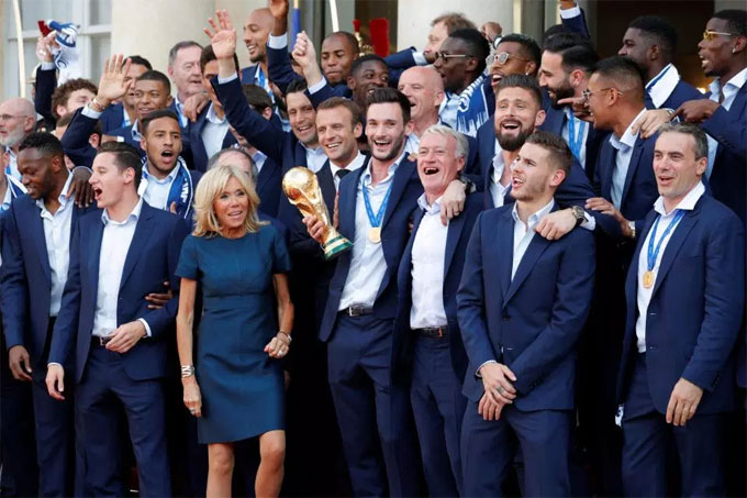Deschamps, 49, was the winning captain 20 years ago, and joins Germanys Franz Beckenbauer and Mario Zagallo of Brazil on the illustrious list.