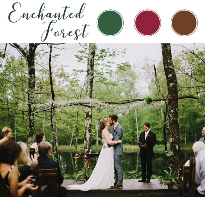 Bảng màu của hôn lễ kiểu này thường được kết hợp bởi xanh lá, đỏ tía và nâu. Cô dâu chú rể có thể sử dụng hoa to bản, cây xanh, đèn dây và nến để không gian thêm lung linh và lãng mạn.