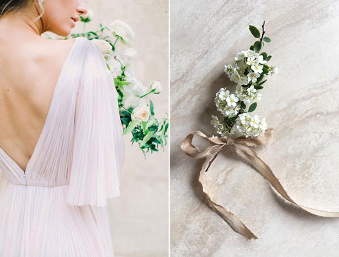 Cô dâu sử dụng ruy băng màu nâu nhạt cho hôn lễ Modern Neutral.