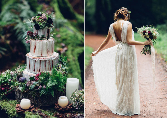 Để làm nên một đám cưới hoàn hảo cùng chủ đề riêng, cô dâu chú rể có thểsử dụng quả thông, lá cây dương xỉ, khoanh gỗ to bản để trang trí bánh cưới. Nếu cô dâu còn băn khoăn về kiểu tóc, bạn có thể chọn tóc tết búi gọn và cài thêm nhành hoa làm điểm nhấn.