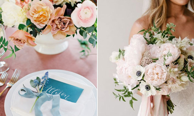 Cô dâu sử dụng mẫu đơn hồng pastel làm chủ đạo và điểm xuyết những nhành lá nhỏ vào bó hoa cưới.Đây là sự kết hợp tuyệt vời nếu bạn là người yêu thích những gam màu của thiên nhiên. Một không gian cưới nhẹ nhàng, dịu mắt, tươi mới với bảng màu này sẽ làm khách mời của bạn thấy dễ chịu.