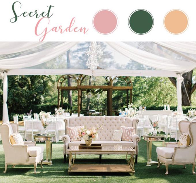 Secret Gardenlà sự hòa trộn của ba sắc màu có độ tương phản nhẹ gồm: Hồng pastel, xanh lá cây và cam nhạt. Sức quyến rũ của bảng màu này khiến tân lang tân nương khó chối từ và gợi lên vẻ cuốn hút, bí ẩn tựa như một khu vườn bí mật trong truyện cổ tích.