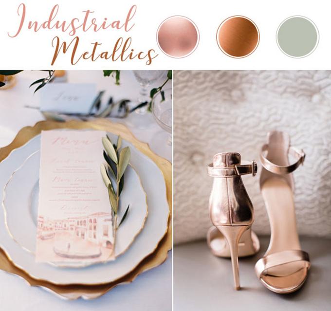 Bảng màu hiện đại này có sự hòa trộn bởi vàng đồng, vàng hồng (rose gold) và xám bạc. Chính sự phối hợp từ màu ánh kim lấp lánh sẽ tạo nên một không gian tiệc cưới cá tính, khó có thể trộn lẫn.