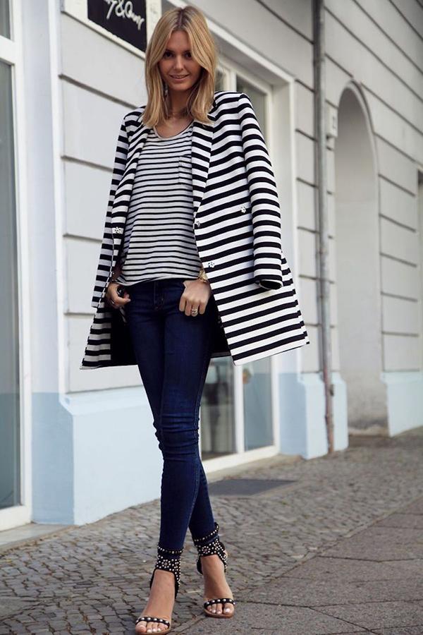 Áo khoác dáng thanh lịch khá hợp vớicác kiểu jeans ôm, quần skinny, quần ống côn.
