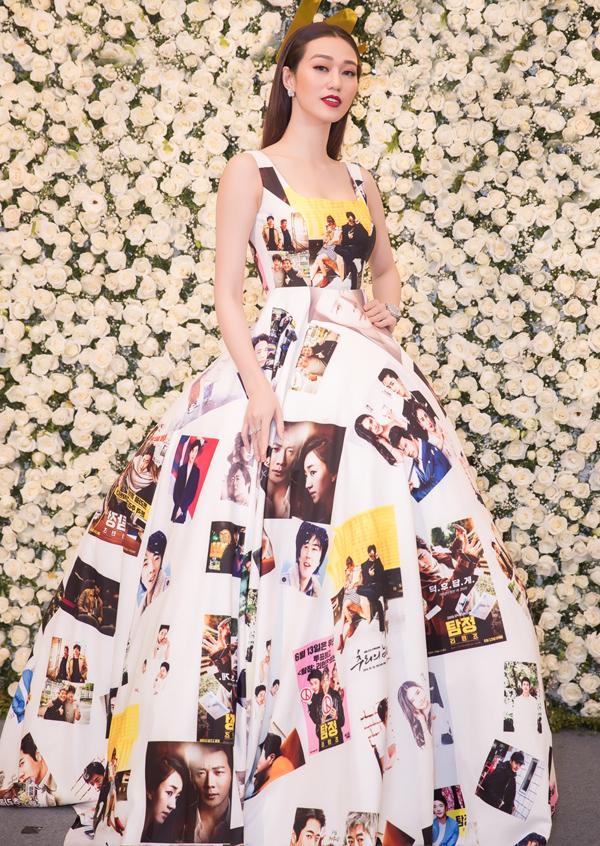 Diễn viên Khánh My gây chú ý với váy in hình các vai diễn nổi tiếng của Kwon Sang Woo.