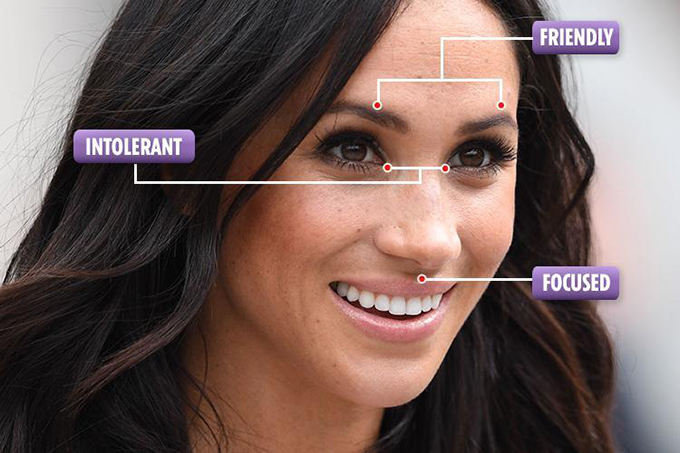 Các đặc điểm trên gương mặt tiết lộ tính cách của Nữ Công tước xứ Sussex. Ảnh:The Sun.