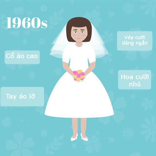 Sang thập niên 1960, cổ váy cao, tay áo lỡ và váy cưới ngắn được ưa chuộng.