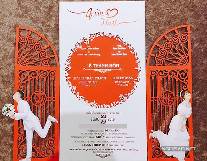 Thiệp cưới của Trấn Thànhcũng được tạo nên bằng phương pháp laser cut. Kỹ thuật này giúp cho tấm thiệp có vẻ đẹp tinh xảo và đẹp mắt.