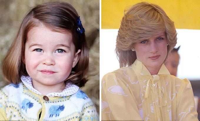 Chân dung sinh nhật lần thứ 2 của Charlotte năm ngoái và chân dung Diana ở Australia năm 1983.