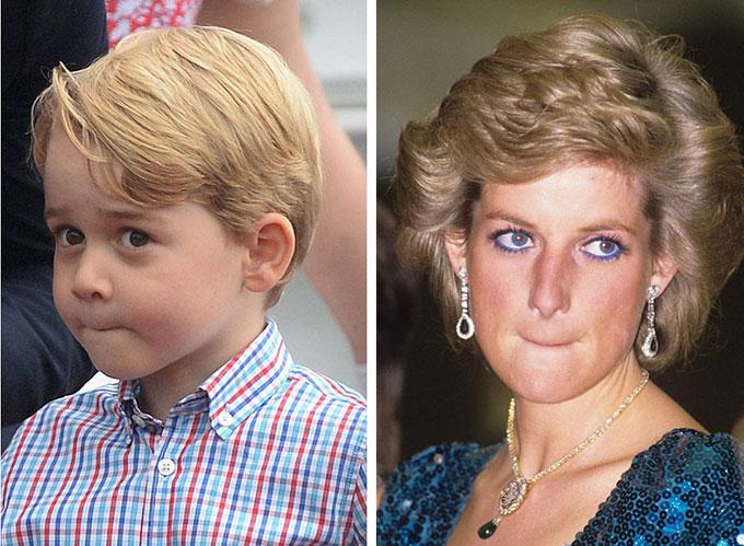 George bặm chặtmôi trong chuyến công du Ba Lan năm 2017 và Diana năm 1989 khi hôn nhân đang khủng hoảng.