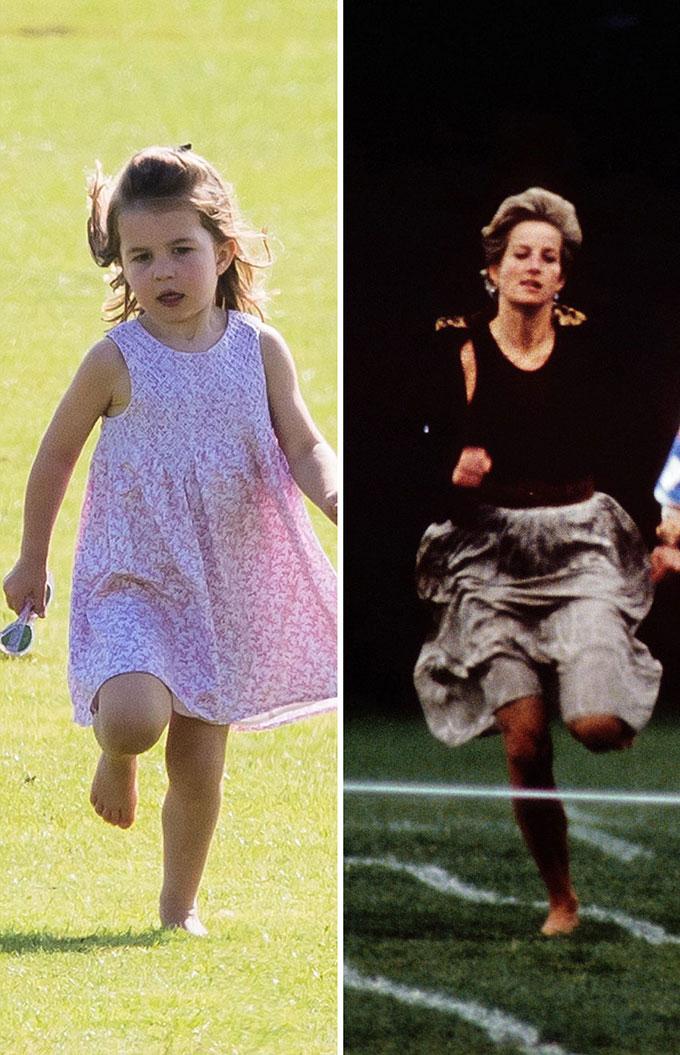 Cách nhảy cẫng chân của Charlotte với cách nhảy của Diana tại một ngày hội thể thao năm 1991.