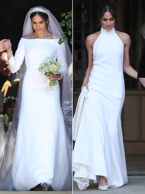 Hai bộ váy cưới tháng 5 của nữ Công tước xứ Sussex MeghanMarkle đã đi vào lịch sử thời trang cưới vì sự tối giản, ít chi tiết trang trí.Người đẹp đã diện chiếc đầm cưới thanh lịch của nhà mốtGivenchy (trái) và váy cưới thiết kế cổ yếm của StellaMcCartney (phải).