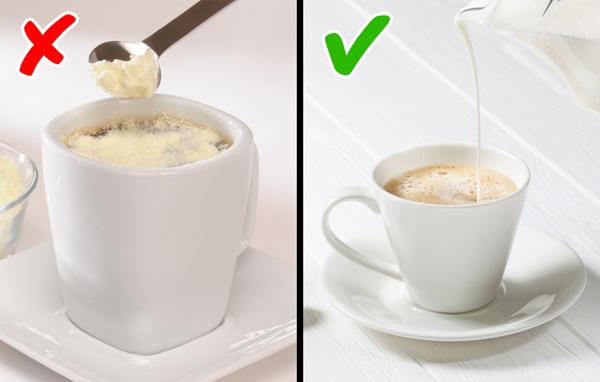 Không dùng kem nhân tạo Nhiều người thích cho một chút kem vào cà phê để tăng hương vị nhưng nó lại không tốt cho sức khỏe. Kem nhân tạo có thể gây đầy bụng, khó tiêu, có thể chứa nhiều thành phần không có lợi cho số đo vòng hai.