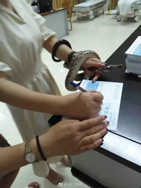 Cô gái cầm chặt con rắn trên tay khi kývào giấy đăng ký khám chữa ở bệnh viện. Ảnh cắt từ video.