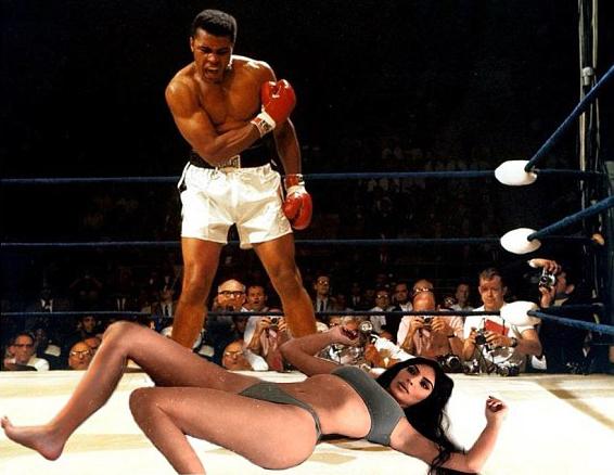 Nhiều ảnh chế hài hước về kiểu nằm của Kim được chia sẻ trên mạng xã hội. Trong một bức ảnh, ngôi sao truyền hình thực tế Mỹ bị ví như người thua trận trên võ đài quyền anh.