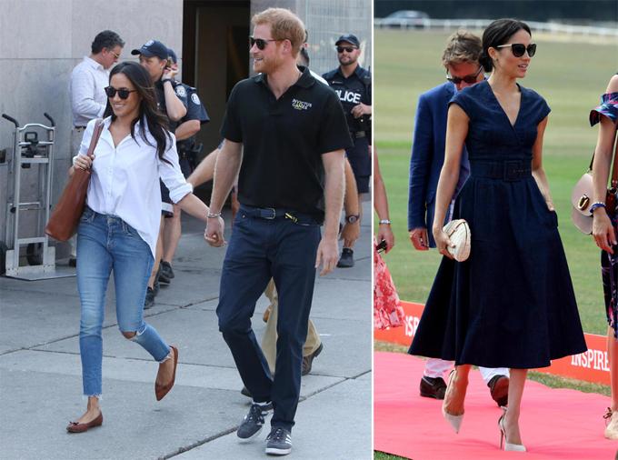 Trước khi bị ràng buộc, Meghan là fan của quần bò rách (trái). Hiện tại, cô vẫn mặc denim nhưng chuyển sang một phong cách khác, quý phái hơn (phải).