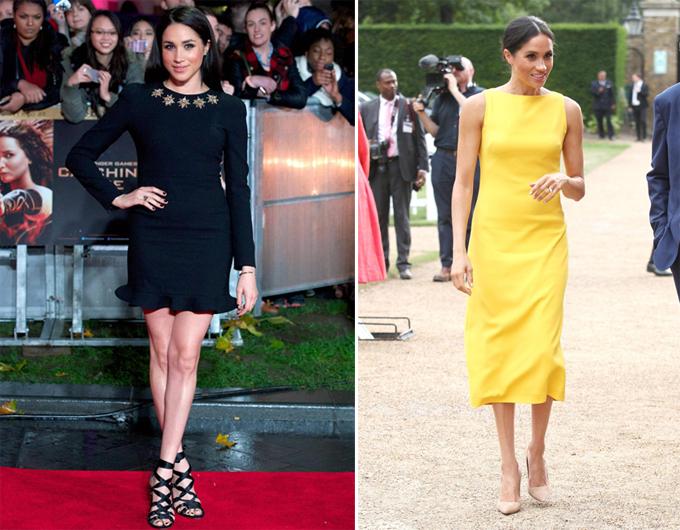 Meghan diện một chiếc váybó vàngắn trên thảm đỏ vào năm 2013 (trái) nhưng giờ Nữ công tước xứ Sussex mặc váy dài qua đầu gối (phải).