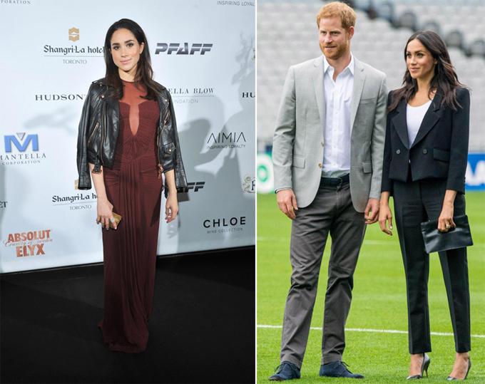 Meghan mê đắm kiểu áo da khoác hờ trên vai trước khi làm dâu hoàng gia (trái). Bây giờ, cô phải luôn mặc áo khoác đúng cách (phải).