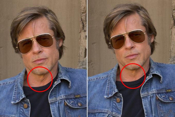 Brad Pitt đã được xóa nếp nhăn trên cổ và thu hẹp yết hầu.