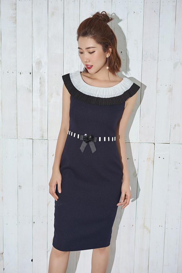 Những kiểu váy liền thân, váy ôm không còn đơn điệu khi được trang trí phần cổ áo, eo thon bắt mắt.