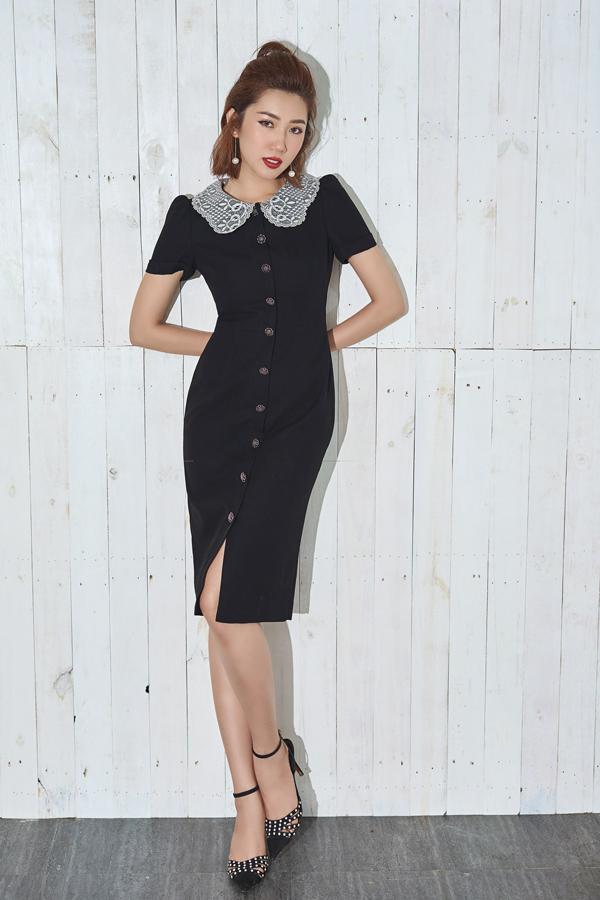 Váy cài khuy với phần cắt, ráp phom tinh tế mang lại vẻ thanh nhã và gợi cảm cho người mặc.