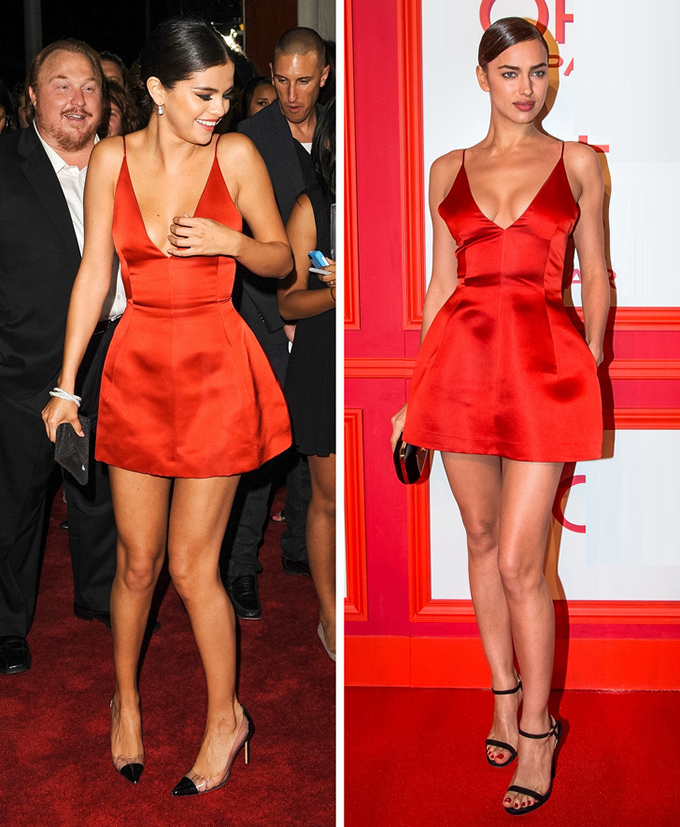 Không có lợi thế chiều cao như chân dài Irina Shayk (phải) nhưng Selena Gomez chẳng hề thua kém về độ quyến rũ khi cả hai cùng mặc một thiết kế.