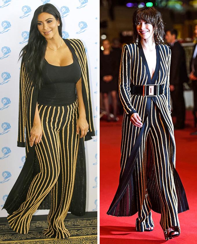 Cách phối trang phục cũng như thân hình đẫy đà của Kim Kardashian (trái) khiến cô không toát lên được vẻ thời thượng như diễn viên Pháp  Sophie Marceau.