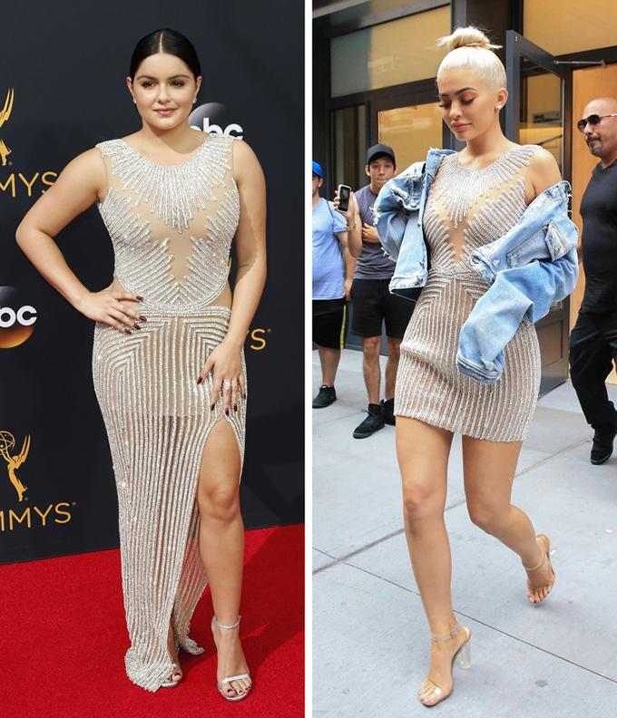 Trong khi đó, em gái út của Kim - ngôi sao mạng xã hội Kylie Jenner (phải) - hoàn toàn lấn át diễn viên Modern Family Ariel Winter.