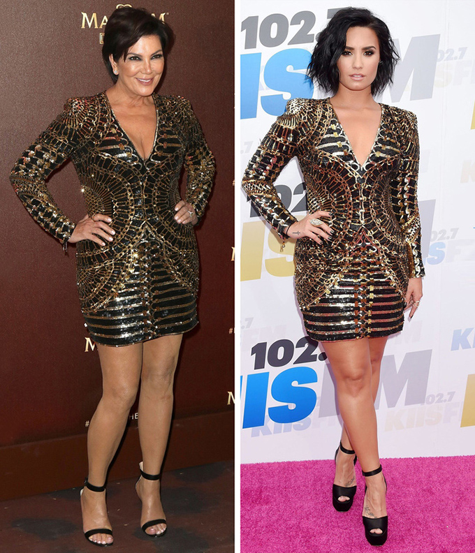 Dù đã ở tuổi  63, bà Kris Jenner - mẹ của Kim và Kylie - trông một chín một mười so với giọng ca 26 tuổi Demi Lovato khi cùng mặc váy ngắn.
