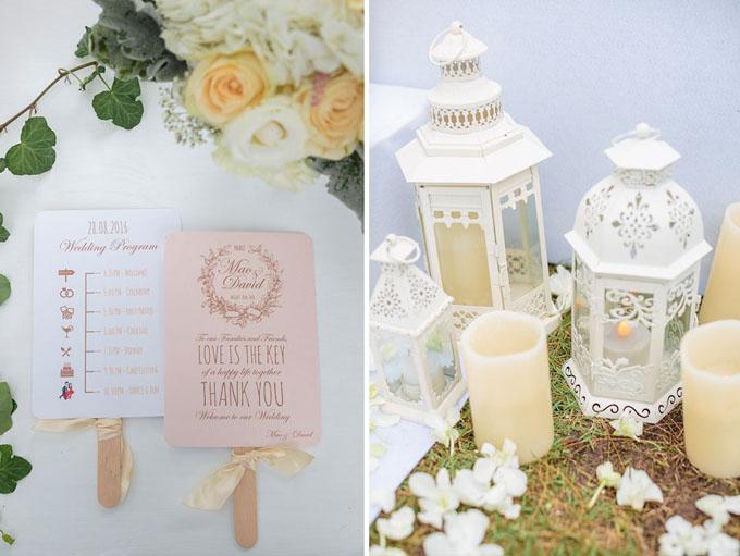 Cặp vợ chồng gửi tặng khách mời những chiếc quạt giấy in những hoạt động nổi bật trong lễ cưới.