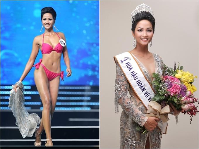 Mãi đến khi tham gia Hoa hậu Hoàn vũ Việt Nam 2017, HHen Niê bất ngờ tỏa sáng, vượt qua nhiều ứng viên nặng ký khác giành vương miện. Cô trở thành người dân tộc thiểu số đầu tiên đăng quang một cuộc thi nhan sắc cấp quốc gia. Sắp tới, người đẹp 26 tuổi sẽ đại diện Việt Nam dự thi Miss Universe 2018 tổ chức tại Thái Lan. Hiện cô được đánh giá cao và dự đoán vào top 5 cuộc thi.