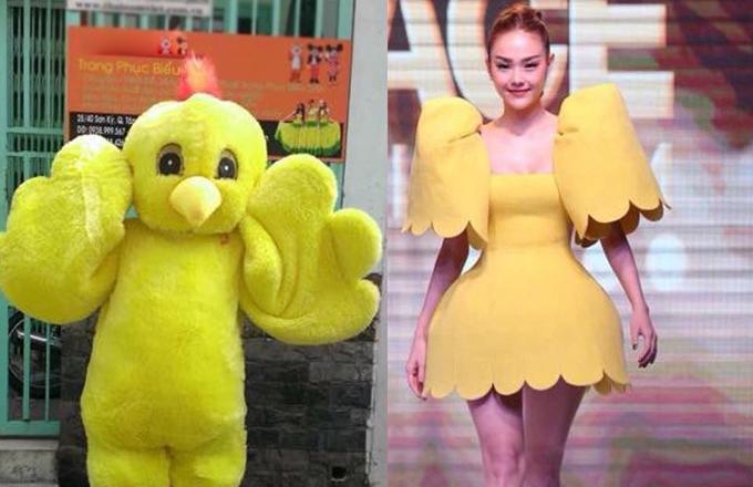 Hình ảnh Minh Hằng diện váy xoè tạo khối còn được mang ra so sánh với chú vịt con.