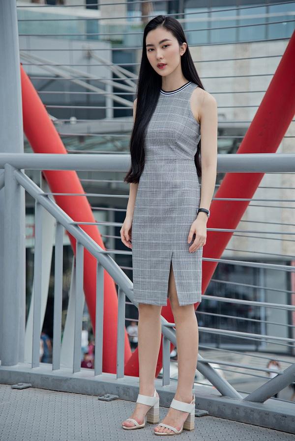 Đầm caro kẻ sọc sắc màu trung tính cũng là một gợi ý thú vị cho các nàng.