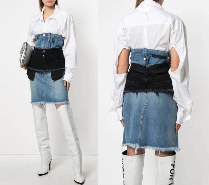 Thiết kế giá 1.080 bảng Anh (gần 33 triệu đồng) của Farfetch được miêu tả cố gắng trở thành một chiếc áo sơ mi, chân váy và quần jeans cùng lúc.