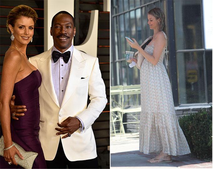 Bạn gái của Eddie Murphy bên tài tử tại lễ trao giải Oscar 2015 (ảnh trái) và trên đường phố Los Angeles vào tuần trước.
