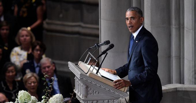 Cựu tổng thống Mỹ đọc điếu văn tại tang lễ đối thủ từng tranh cử năm 2008. Ảnh:AFP.