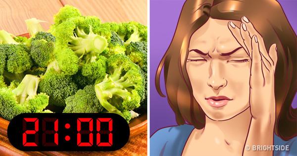 Bông cải xanh Hầu hết các loại rau, đặc biệt là bông cải xanh, bắp cải, cà rốt và súp lơ, có lượng chất xơ không hòa tan cao di chuyển chậm qua hệ thống tiêu hóa. Vì vậy, nếu bạn ăn nhiều thực phẩm gây khó ngủ này gần với thời gian đi ngủ, cơ thể bạn sữ phải hoạt động để tiêu hóa chúng trong khi bạn đang cố gắng ngủ ngon.