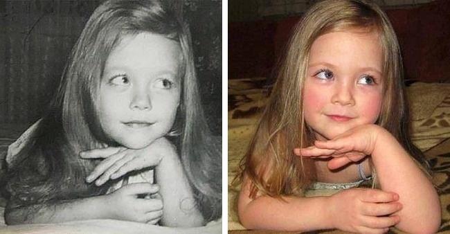 Bức ảnh của mẹ (trái) được chụp năm 1980 và con gái chụp ảnh năm 2014. Cả hai cùng độ tuổi khi chụp ảnh.