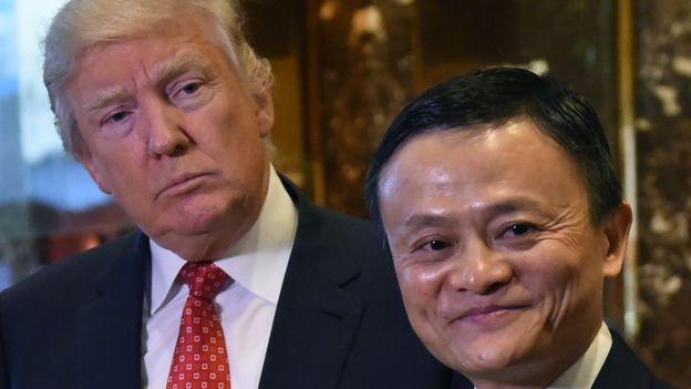 Jack Ma nói chuyện với Donald Trump đầu năm 2017, hứa giúp tạo một triệu việc làm cho các công ty Mỹ. Ảnh:BBC.