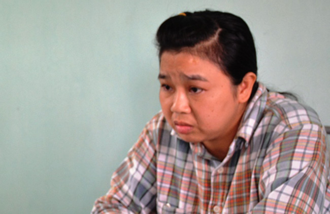 Nguyễn Thị Hà tại cơ quan điều tra. Ảnh: C.A.