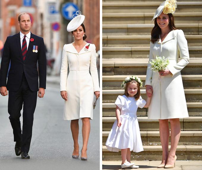 Kate Middleton đã mặc thiết kế Alexander McQueen màu kem này ít nhất 4 lần: ở lễ rửa tội của Công chúa Charlotte năm 2015; lễ diễu binh mừng sinh nhật Nữ hoàng năm 2016; trong chuyến thăm Bỉ năm 2017; và tại đám cưới Harry - Meghan hồi tháng 5. Vào mỗi dịp, vợ Hoàng tử William đều thay đổi một vài chi tiết trên tổng thể nhằm tránh lặp lại hình ảnh trước đó.