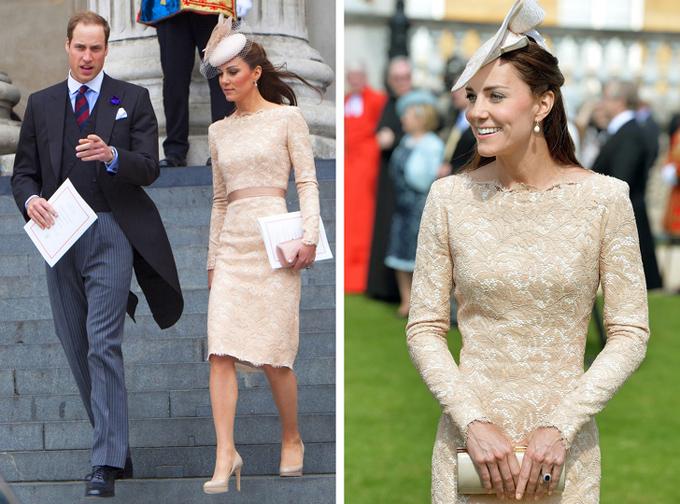 Kate thay đổi mũ cài đầu, clutch và dải dây thắt eo để làm mới chiếc váy mặc cách nhau 2 năm.