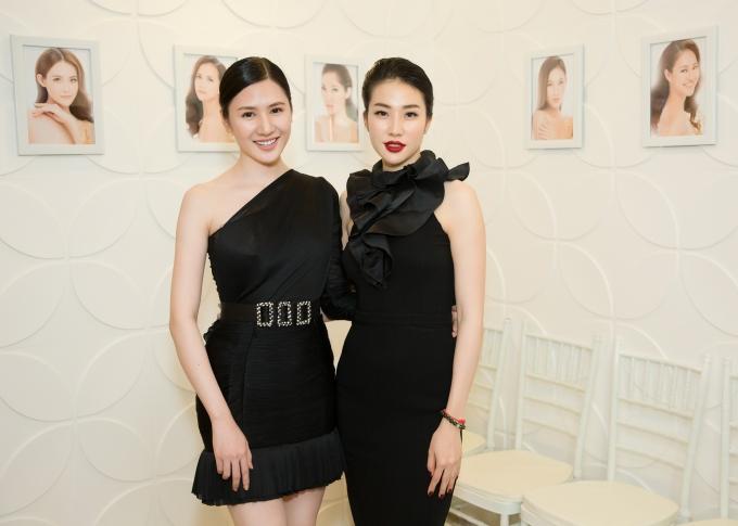 Người đẹp Tường Vy (trái) và Á hậu 1 Hoa hậu Việt Nam 2008 - Minh Thư.