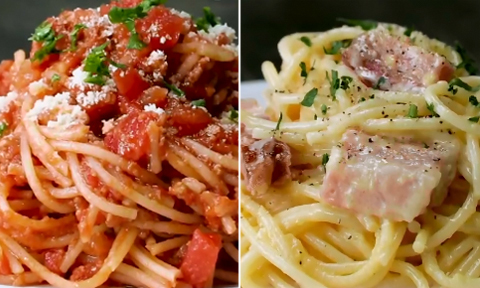 Chỉ với lò vi sóng, bạn có thể nấu 2 món mì spaghetti
