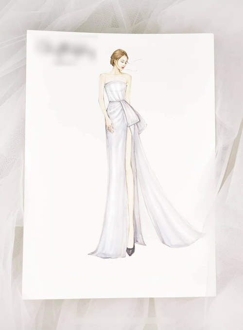 Theo bản phác thảo, mẫu váy có thiết kế quây cúp ngực, phù hợp với người có phần thân trên thon nhỏ, bờ vai mảnh mai. Ảnh: Chung Thanh Phong