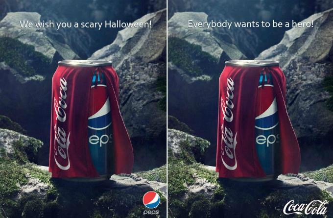 Coca-Cola chỉ thay một dòng chữ để lật kèo Pepsi trong mùa Halloween 2013. Ảnh: Pinterest.