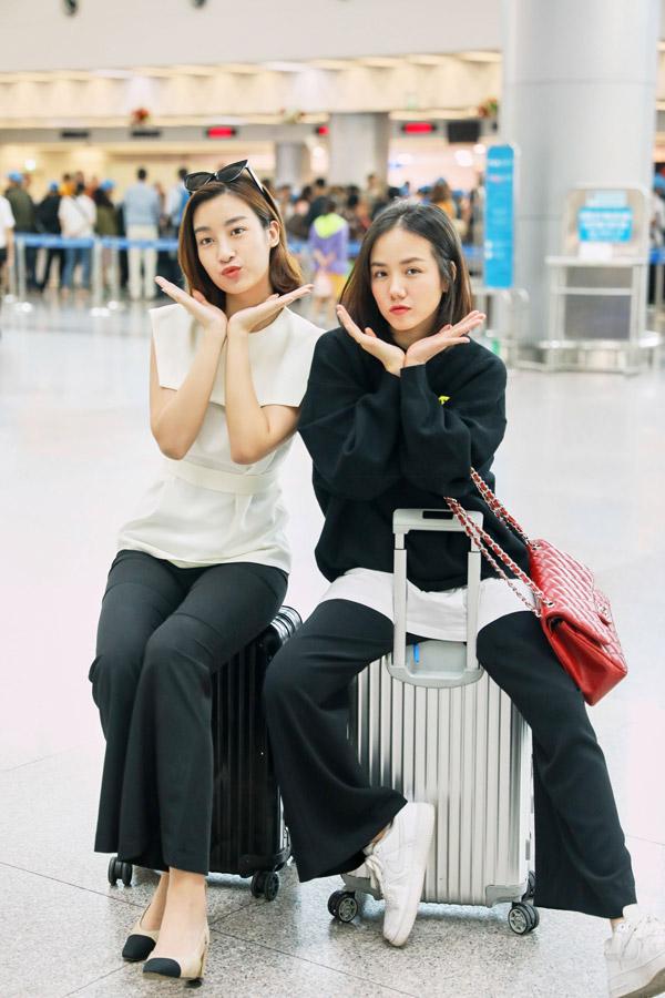 Hoa hậu Đỗ Mỹ Linh đọ mặt mộc với Phương Ly ở sân bay - 7