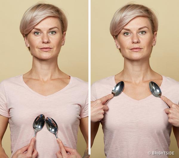 Chăm sóc da ngực Dùng thìa ấm massage theo chuyển động tròn từ xương quai xanh vòng qua ngực rồi thay thìa lạnh, lặp lại động tác. Thực hiện luân phiên với thìa ấm - lạnh 10 lần.