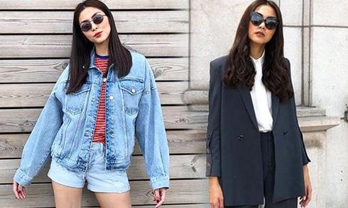 Tăng Thanh Hà mix kính bình dân cho street style